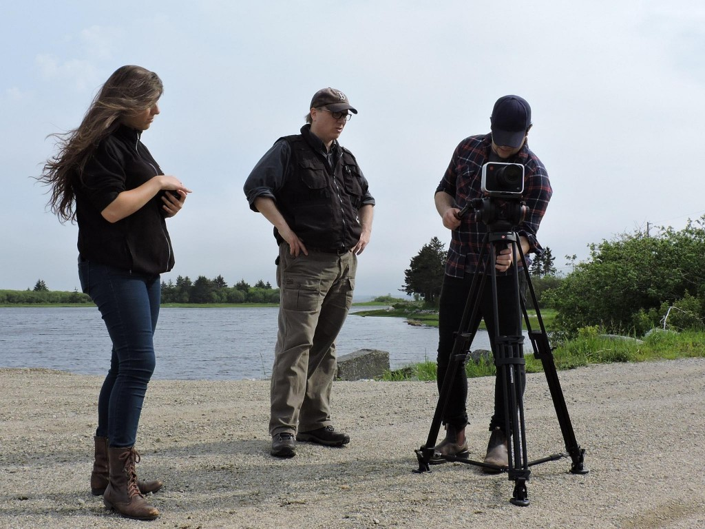 Yours truly (center) filming in Barrington, NS